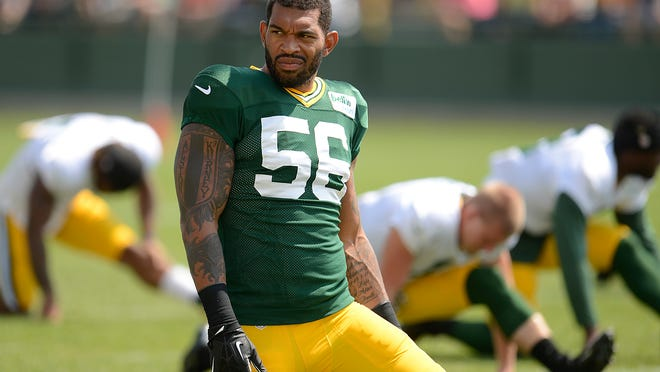 Green Bay Packers' Julius Peppers during training camp practice at Ray Nitschke Field on Wednesday, Aug. 6, 2014. Evan Siegle/Press-Gazette Media