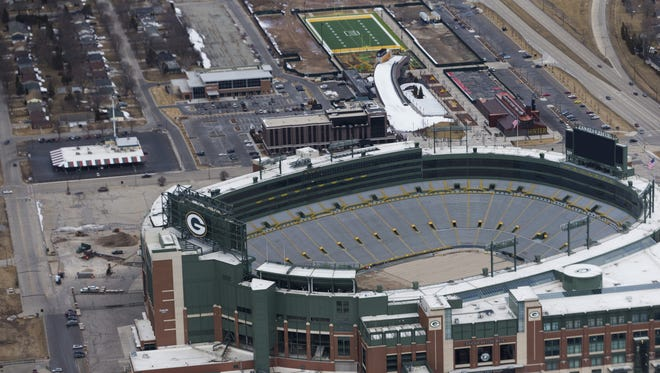 An aerial view of the Green Bay Packers' Titletown District, looking  to the west of Lambeau Field.