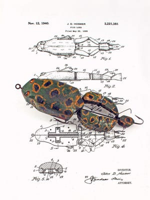 The Hosmer mechanical froggie was made in Dearborn during the late 1930s and just after World War II. This well-used  lure was brought into the Novi Outdoorama in 2015 and is worth between $1,500 and $2,000 without the original box. Pristine versions of this rare Michigan lure comprised of 51 separate mechanical parts can be worth $10,000.