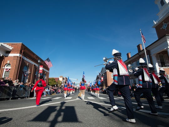 Delaware State University marching band performs at the Return Day Parade in Georgetown.