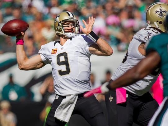 Saints quarterback Drew Brees ranks third in NFL history in passing yards and touchdown passes. The Eagles will face Brees on Nov. 18 in New Orleans.