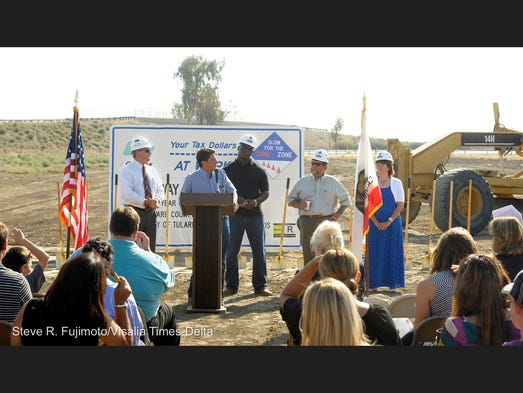 About 100 people came out Wednesday to celebrate and commemorate the City of Tulare's Cartmill Avenue Interchange groundbreaking during a ceremony near Cartmill Avenue and North M Street. Mayor David Macedo and council members spoke during the event.