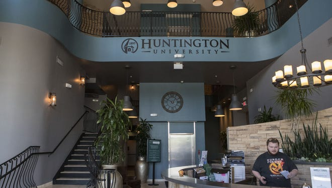 The entrance of the Huntington University Arizona Center for Digital Media Arts is shown on Thursday, August 3, 2017 in Peoria, Ariz.