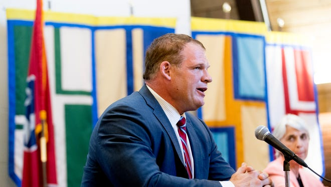 Knox County mayoral candidate Glenn Jacobs speaks during a Knox County mayoral forum at Pellissippi State Community College on Magnolia Ave. in Knoxville, Tennessee on Friday, July 20, 2018.