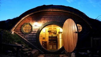 """Lord of the Rings"" fans are drawn to the Hobbit houses at Forest Gully Farms in Santa Fe, Tenn."