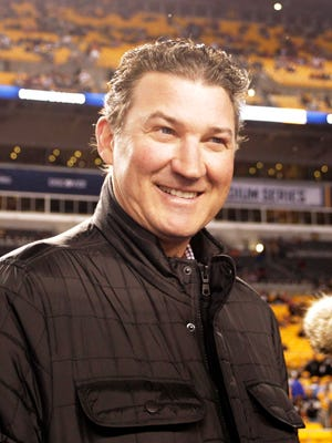 Pittsburgh Penguins owner Mario Lemieux in attendance during warm-ups against the Philadelphia Flyers before a Stadium Series hockey game at Heinz Field in 2017.