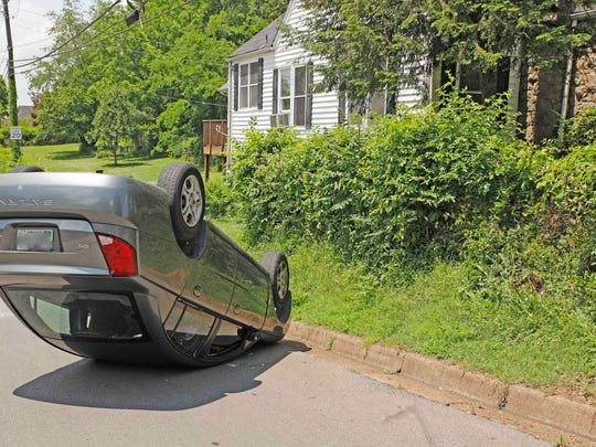 An inexperienced driver flipped her car on Greenwood