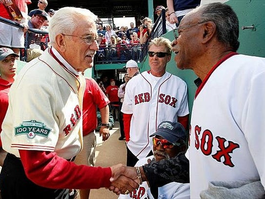 Bill Rohr, left, and other former Boston Red Sox get