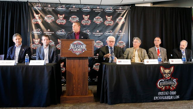 Brad Taylor, (at podium) General Manager of the El Paso Chihuahuas is joined from left: Chihuahuas President, Alan Ledford, Josh Hunt, co-owner, Vice Chairman and CEO of Mountain Star Sports Group, Pat O'Connor, president and CEO of Minor League Baseball, Branch Rickey, president of the Pacific Coast League, Randy Mobley, president of the International League and Oscar Leeser, Mayor of El Paso joined Taylor in official announcement that the 2019 AAA All-Star Game will be played at Southwest University Park.