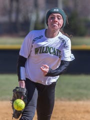 Pinelands pitcher Jesse Rising. Toms River East Girls Softball vs Pinelands in Softball Strikes out Autism events at Middletown North High School in Middletown on March 8, 2017