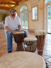Marc Wagner teaches hand drumming during his weekly