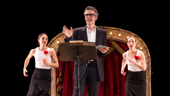 "Ira Glass stages ""Three Acts, Two Dancers, One Radio Host"" with dancers Monica Bill Barnes and Anna Bass on April 25 at the Flynn Center."