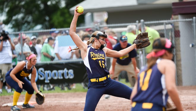 Iowa City Regina pitcher Sarah Lehman (16) winds up to throw the final pitch of the game on Friday, July 24, 2015, during the Class 2-A state finals.