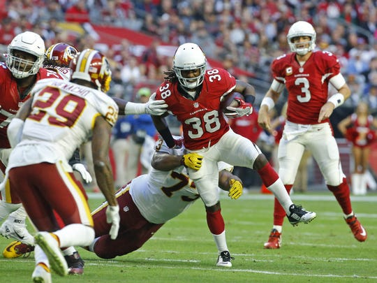 Arizona Cardinals running back Andre Ellington (38) against the Washington Redskins in their  NFL game Sunday, Dec. 4, 2016 in Glendale, Ariz.