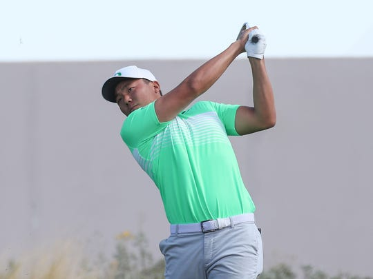 Norman Xiong of Oregon, tees off on 7th hole at of the Greg Norman Course at PGA West during The Prestige college golf tournament at PGA West.