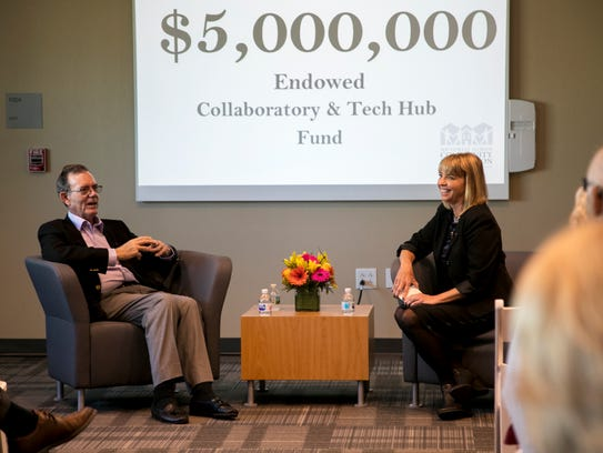 Southwest Florida Community Foundation CEO Sarah Owen interviews David Lucas about his gift of $2.5 million that inspired 83 other supporters to join in raising another $2.7 million to set up an endowment for the Southwest Florida Community Foundation.