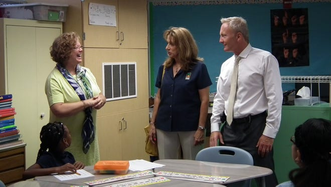 Indio Mayor Elaine Holmes joined Superintendent Scott Bailey on a tour of three schools on the first day of school.
