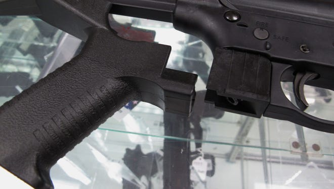 A bump stock for a .22 caliber rifle.