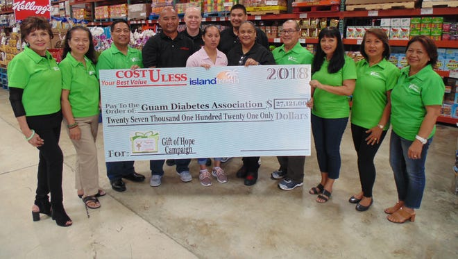 Cost-U-Less recently donated $27, 121. to the Guam Diabetes Association to fund its annual