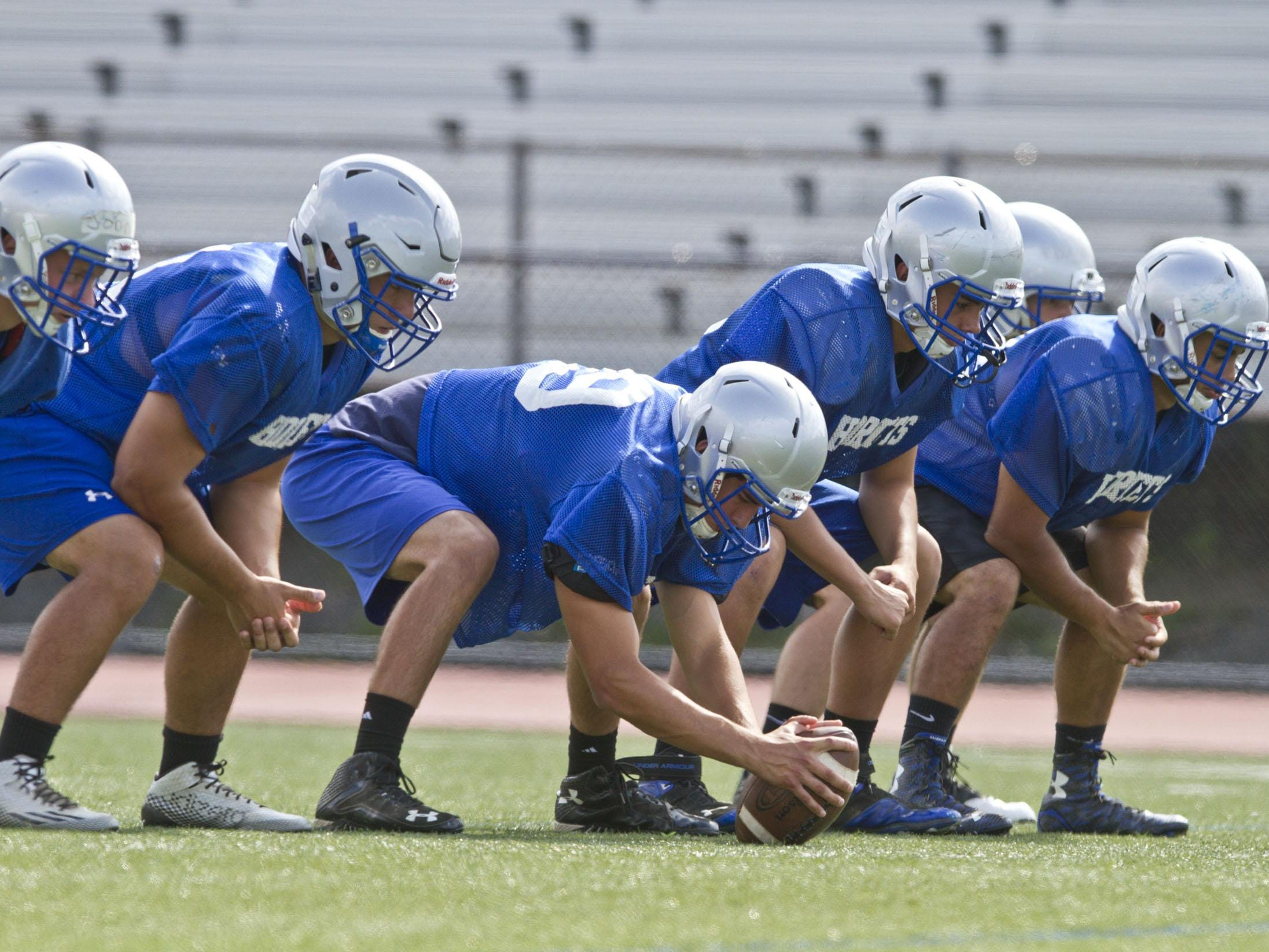Holmdel lines up at practice Aug. 27.