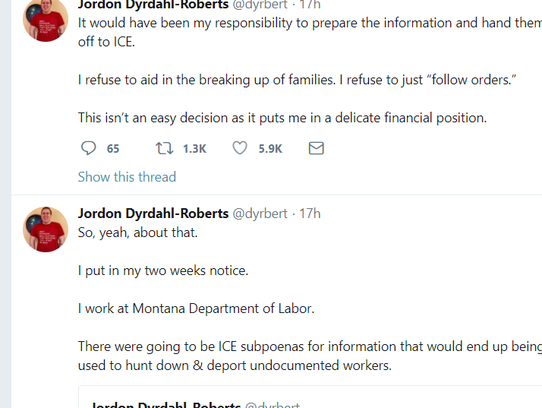 Jordon Dyrdahl-Roberts says via Twitter that he is