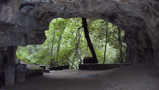 Entrance of Crystal Cave in Sequoia National Park. Wild cave tours are hosted once a week during the summer months and take people to more remote portions of the three-mile long marble cave.