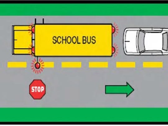 Drivers must stop at least 30 feet from a stopped school