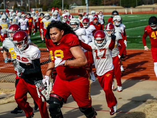 Iowa State player Kamilo Tongamoa (48) jogs off the field after a cold outdoor practice at Rhodes College Wednesday, Dec. 27, 2017, in Memphis, Tennessee.