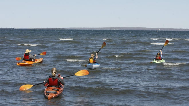Kayakers off North Kingstown Town Beach.