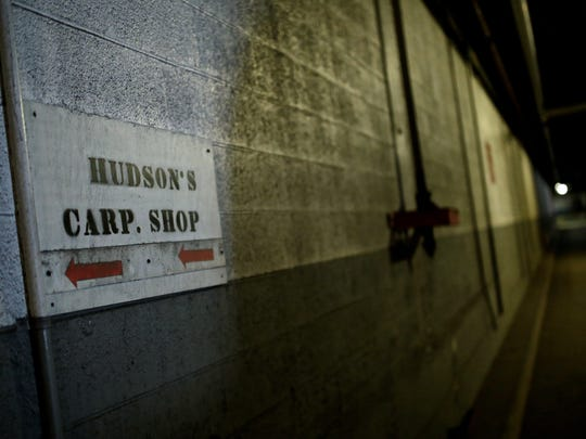 A sign for the Hudson's storage area inside the tunnels