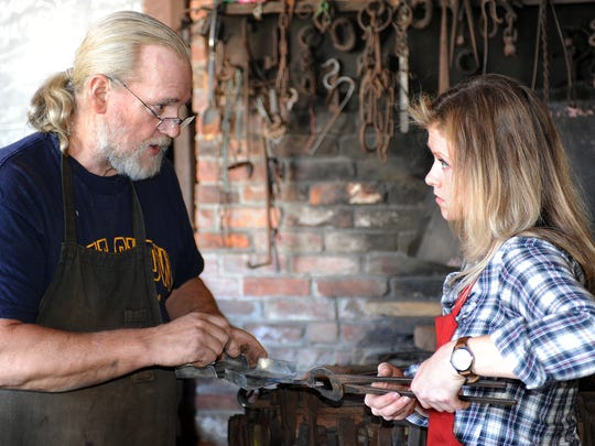 Lewes blacksmith John Ellsworth who runs  a shop on the corner of West 3rd Street and Chestnut St. in downtown Lewes practices the old art of blacksmithery and teaches apprentice Jen Haines from Slaughter Neck.