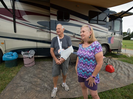 Tony and Carole LaMarca of Greeneville, TN at their campsite for race weekend at Dover International Speedway.