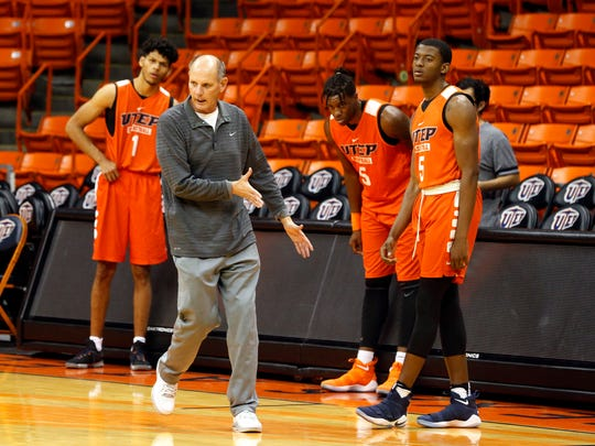 UTEP head coach Phil Johnson puts the Miners through their offense he and his assistants installed for their game tonight against the New Mexico Lobos. Johnson will lead the Miners through their second under his watch in the Don Haskins Center hoping to rebound from a tough loss Thursday night against the NMSU Aggies 80-60, bringing their record to 1-6 on the season.