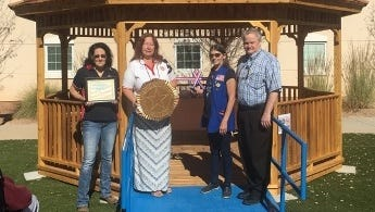 Maureen Harrop (American Legion Auxiliary District 7 President), Gwen Miller (Past President, ALA Department of New Mexico), Robin McCutcheon (Fort Bayard Hostess, ALA Department of New Mexico), Todd Winder (Fort Bayard State Veterans Home Administrator).