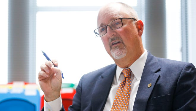 """Springfield City Manager Greg Burris talks about his resignation in his office in the Busch Municipal Building on Tuesday, Nov. 14, 2017. His resignation will be effective June 30, and Burris will """"likely transition"""" to the role of executive director of the newly-announced Give 5 Program, according to a news release from the city."""