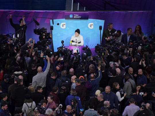 Tom Brady is interviewed during Super Bowl LII Opening