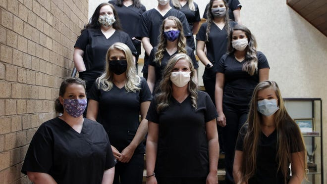 Radiography graduates are pictured left to right: (front row) Katie Barnes, Heather Campbell, Allison Rudisill, (second row) Mattie Rutherford, (third row) Alexis Rowland, Erica Eason, Michelle Wright, (fourth row) Nathan Hager, Madison James, (back row) Layla Davis, Danielle Elder and Kiersten Moore.