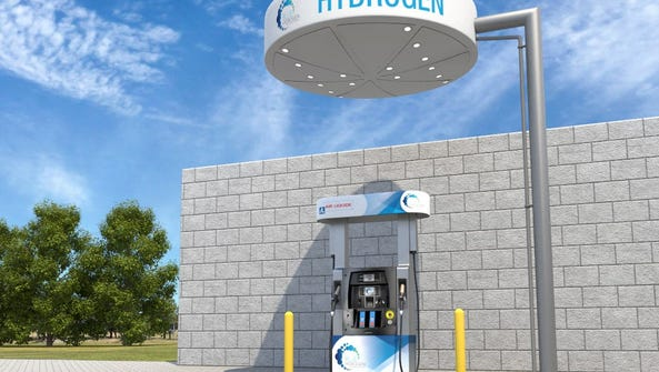 A rendering of what the hydrogen fuel station will