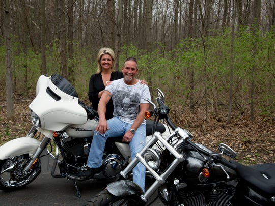 Bel and Mark Taylor own his-and-her Harleys and can't wait for the new store to open