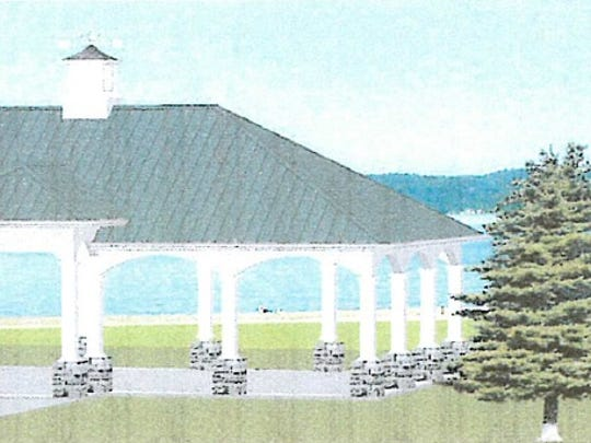 A rendering of the pavilion proposed for Marine City's