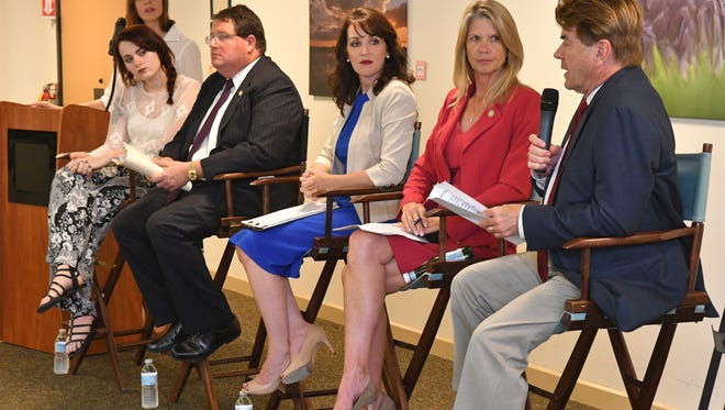 In March, FLORIDA TODAY hosted a town hall meeting concerning school safety. Guest speakers were, left to right, Sarah Adams, a Satellite High senior, Rep. Randy Fine, Brevard School Board Vice Chair Tina Descovich, Sen. Debbie Mayfield and Rep. Thad Altman.