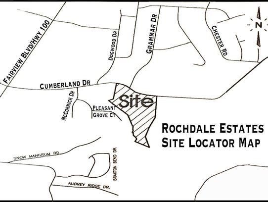 Site locator map for Rochdale Estates off Cumberland