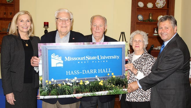 The Hass-Darr Hall will be named for, from left, Mary Hass Sheid, William R. Hass, William and Virginia Darr. Also pictured: Missouri State-West Plains Chancellor Drew Bennett.