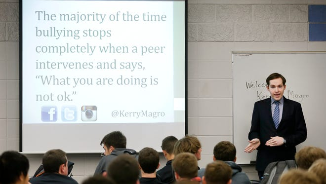 Kerry Magro talks about autism and bullying Tuesday to students at Appleton North High School.