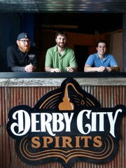 Derby City Spirits principals; L to R; Jay Blevins, Owner/Director of Operations, Harrison Hyden, Owner/Master Distiller and River City Distribution representative Michael Carbone. April 20, 2015.