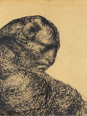 """Rose O'Neill made """"The Mountain,"""" one of her Sweet Monsters drawings, with pen and ink on paper in 1921. Vernon and Marlys Jordan lent it to Springfield Art Museum for an upcoming Rose O'Neill exhibit set to begin in mid-April."""