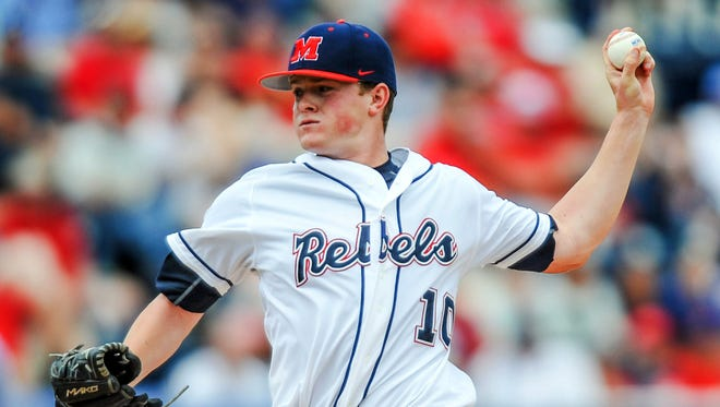 Starting pitcher David Parkinson throws against Tulane in an NCAA regional game at Swayze Field. The left-hander is an important part of Ole Miss' team next year. (Bruce Newman /The Oxford Eagle via AP)  NO SALES; MANDATORY CREDIT