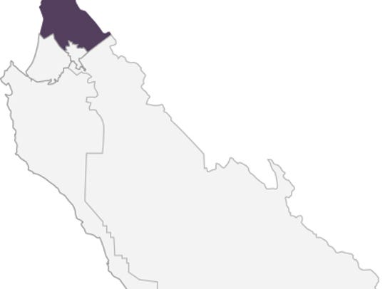This map shows in purple the second district for the