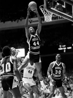 Jerry Beck (44), the Ohio Valley Conference Player of the Year, snares a rebound for Middle Tennessee State University during the first half of NCAA Mideast Regional action against Kentucky at Vanderbilt's Memorial Gym on March 11, 1982. Beck helped lead the Blue Raiders to a stunning 50-44 upset.