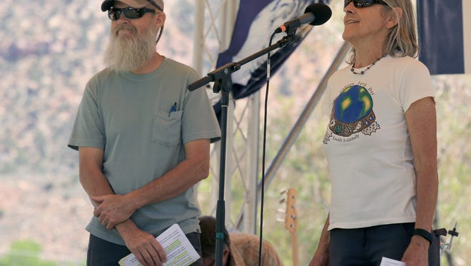 Julie Hancock, organizer of the Zion Canyon Earth Day Celebration, speaks about caring for the earth during the 2015 celebration.